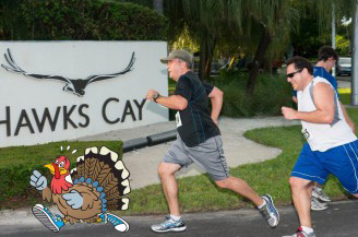 Guests run the 5K Turkey Trot on Thanksgiving Day at Hawks Cay.