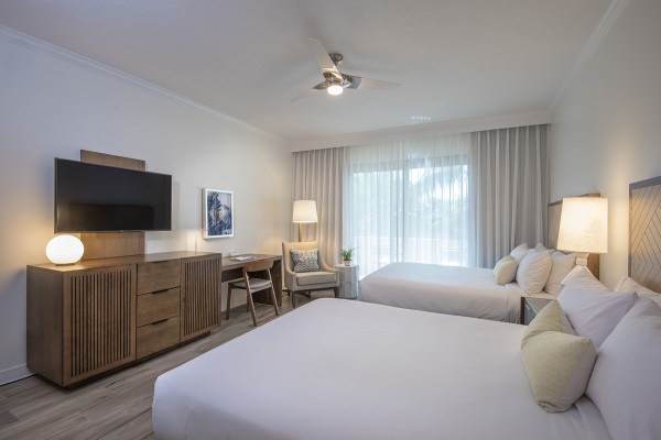 Hawks Cay Guestroom with 2 Queen beds and TV