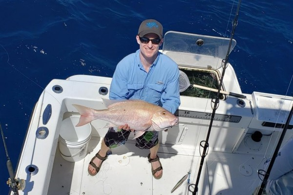 Snapper caught on Snapshot fishing charter at Hawks Cay Resort in the Florida Keys